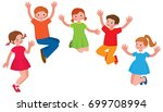 group of cheerful children in a ...   Shutterstock .eps vector #699708994