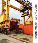 rubber tried gantry cranes  rtg ... | Shutterstock . vector #699717988