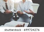judge gavel with justice ... | Shutterstock . vector #699724276