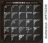 vintage design elements corners ... | Shutterstock .eps vector #699733240
