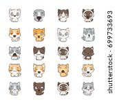 cute cartoon cats and dogs with ... | Shutterstock .eps vector #699733693