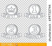 banners ribbons. editable line... | Shutterstock .eps vector #699733744