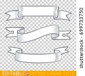 banners ribbons. editable line... | Shutterstock .eps vector #699733750