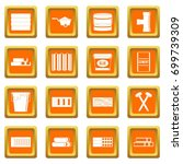 building materials icons set in ... | Shutterstock .eps vector #699739309
