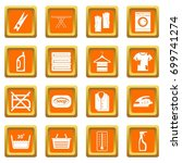 laundry icons set in orange... | Shutterstock .eps vector #699741274