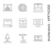 3d printer icon set. outline...