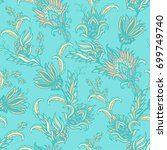 turquoise seamless pastel... | Shutterstock .eps vector #699749740