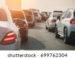 traffic jam with row of cars on ... | Shutterstock . vector #699762304