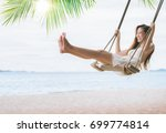asian lady relax and fun with... | Shutterstock . vector #699774814