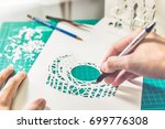 cutting pop up card using... | Shutterstock . vector #699776308