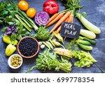 vegetables meal plan | Shutterstock . vector #699778354