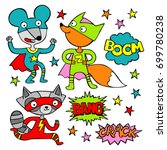 superheroes. raccoon  mouse and ... | Shutterstock .eps vector #699780238