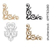 baroque vector set of vintage... | Shutterstock .eps vector #699782680