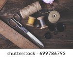 sewing instruments  threads ... | Shutterstock . vector #699786793
