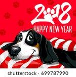 dog. happy new year 2018. happy ... | Shutterstock .eps vector #699787990