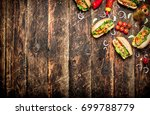 street food. hot dogs with... | Shutterstock . vector #699788779