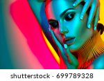 high fashion model woman in... | Shutterstock . vector #699789328