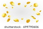 Explosion of gold coins with place for text on transparent background, vector illustration