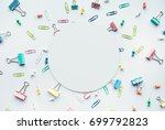 set of colorful paper clips... | Shutterstock . vector #699792823