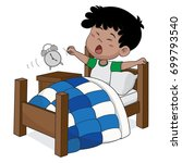 kid wake up in the morning...   Shutterstock .eps vector #699793540