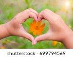 orange flowers with heart... | Shutterstock . vector #699794569