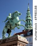 Small photo of Absalon, founder of Copenhagen, on his horse against blue skies.