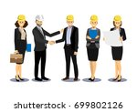 engineer and businessman are... | Shutterstock .eps vector #699802126