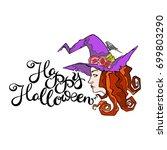 happy halloween. witch.... | Shutterstock .eps vector #699803290
