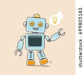 cute robot waves his hand with... | Shutterstock .eps vector #699805183