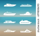 white ship and boats icons... | Shutterstock .eps vector #699808690