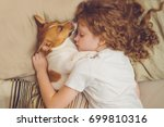 sweet curly girl and jack... | Shutterstock . vector #699810316