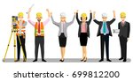 group of engineers hands raised ... | Shutterstock .eps vector #699812200