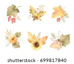 watercolor autumn set of leaves ... | Shutterstock . vector #699817840