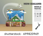 new zealand landmark global... | Shutterstock .eps vector #699820969