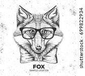 hipster animal fox. hand... | Shutterstock .eps vector #699822934