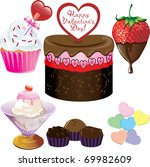 raster version Illustration of six different Valentine Sweets. - stock photo