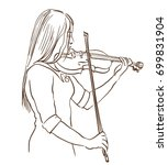 young woman playing violin line ... | Shutterstock .eps vector #699831904