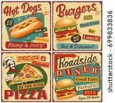 Stock vector  fast food vintage vector poster collection retro diner burger hot dog pizza metal sign 699833836
