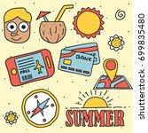 summer beach icon set   Shutterstock .eps vector #699835480