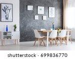 black and white poster on white ... | Shutterstock . vector #699836770
