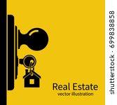 key in keyhole on door...   Shutterstock .eps vector #699838858