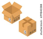 open and closed cardboard box.... | Shutterstock .eps vector #699840388
