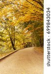 yellow autumn leaves path in a... | Shutterstock . vector #699843034
