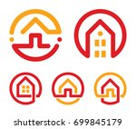 Stock vector house abstract logos set red and yellow unusual linear real estate agency icons collection 699845179