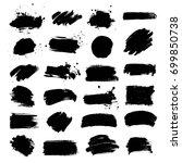 set of black paint  ink brush... | Shutterstock .eps vector #699850738