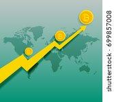 bitcoins upward trend rising... | Shutterstock .eps vector #699857008