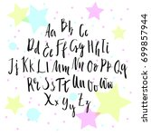 handwritten script font. hand... | Shutterstock .eps vector #699857944