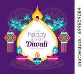 diwali hindu festival greeting... | Shutterstock .eps vector #699859084