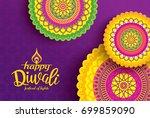 diwali festival greeting card... | Shutterstock .eps vector #699859090