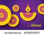 diwali festival greeting card... | Shutterstock .eps vector #699859093